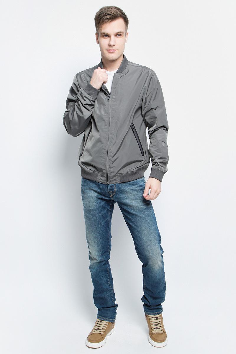 Ветровка мужская Baon, цвет: серый. B607028_Asphalt. Размер XXL (54) водолазка мужская baon цвет синий b727502 baltic blue melange размер xxl 54