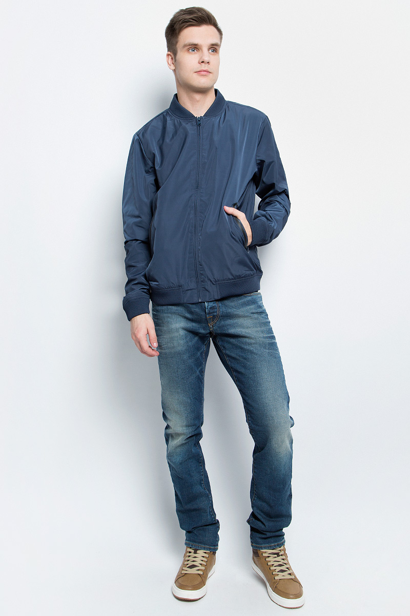 Ветровка мужская Baon, цвет: темно-синий. B607028_Deep Navy. Размер L (50) ветровка мужская baon цвет темно синий b607028 deep navy размер xxl 54