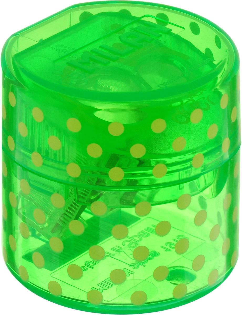 Milan Точилка Duet с контейнером цвет зеленый20155212_зелёныйУдобная точилка с контейнером Milan Duet оснащена безопасной системой заточки.Эта система предотвращает отделение лезвия от точилки. Идеально подходит для использования в школах. Стальное лезвие острое и устойчиво к повреждению. Идеально подходит для заточки графитовых и цветных карандашей
