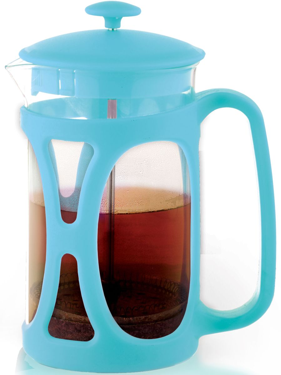 Заварочный чайник Fissman Opera, с поршнем, цвет: лазурный, 600 мл. 9035FP-9035.600