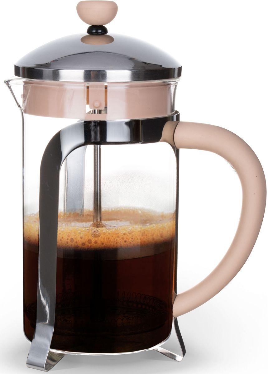 """Заварочный чайник Fissman """"Cafe Glace"""" изготовлен из жаропрочного стекла, нержавеющей стали и пластика. Фильтр-поршень из нержавеющей стали оснащен ситечком для обеспечения равномерной циркуляции воды. Засыпая чайную заварку или кофе под фильтр, заливая горячей водой, вы получаете ароматный напиток с оптимальной крепостью и насыщенностью. Остановить процесс заваривания легко, для этого нужно просто опустить поршень, и все уйдет вниз, оставляя вверху напиток, готовый к употреблению. Изделие оснащено эргономичной прорезиненной ручкой, которая обеспечит безопасный и удобный хват.  Такой чайник позволит быстро и просто приготовить свежий и ароматный кофе или чай."""
