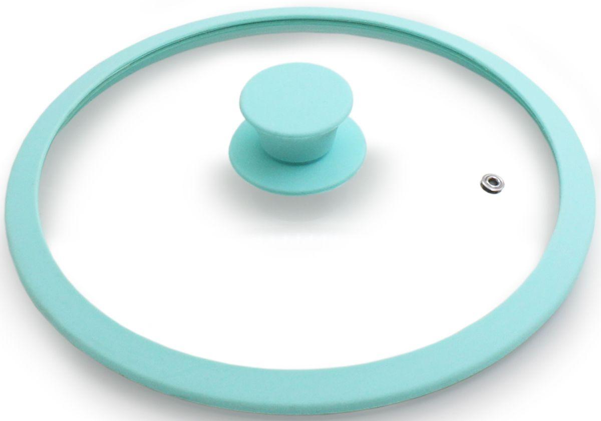 Крышка для посуды Fissman Eden, с силиконовым ободком, цвет: аквамарин, 28 см. 9930GL-9930.28