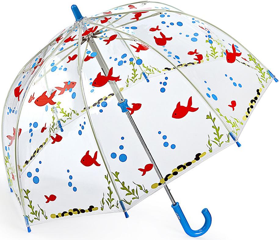 Зонт-трость детский Fulton, механический, цвет: прозрачный, мультиколор. C605-3389