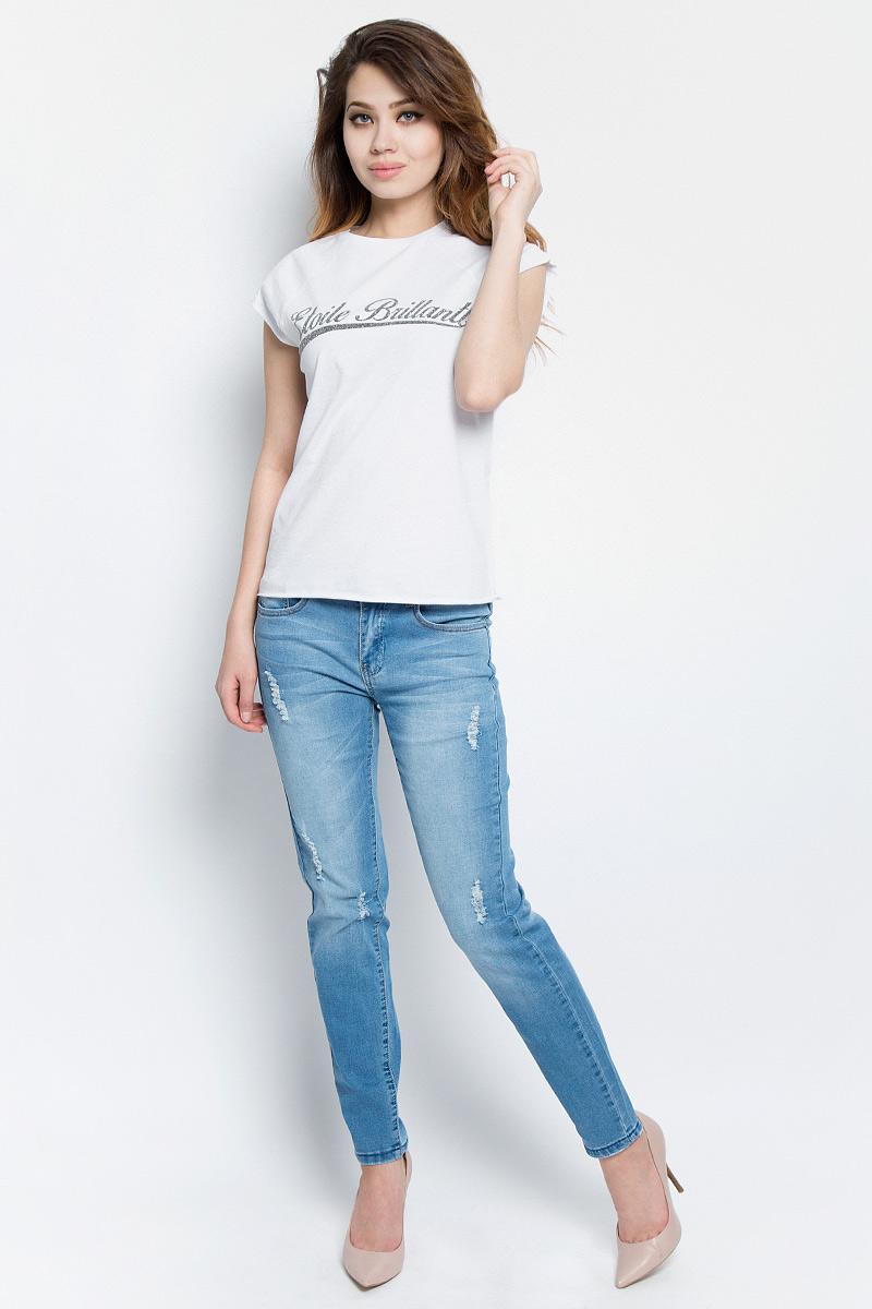 Футболка женская oodji Ultra, цвет: белый. 14707001-5/46154/1000N. Размер L (48) футболка oodji футболка