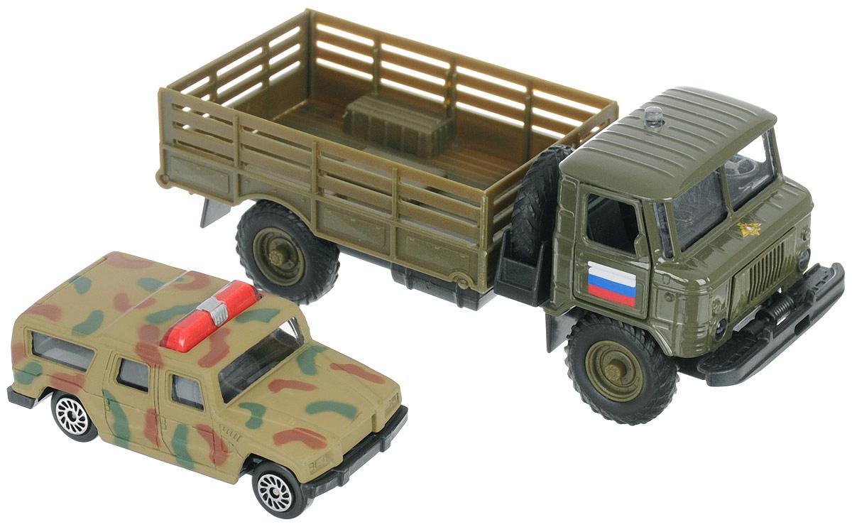 ТехноПарк Модель автомобиля инерционная ГАЗ-66 с джипом цвет хаки ассенизаторскую машину газ 66 в краснодаре