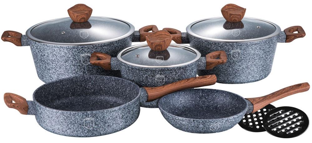 Набор посуды Berlinger Haus, 10 предметов1211-ВННабор посуды Berlinger Haus со стеклянными крышками состоит из 10 предметов из кованогоалюминия. Кастрюли 20 х 10 см, 2,5л, 24 х 12 см, 4 л, 28 х 12,5 см, 6,6 л, сковорода 24 х 6,8 см, сковорода 20х4,2 см, две бакелитовые подставки. Также в комплект входит эргономичная ручка soft touch,индукционное дно, крышка с ручкой-подставкой под кухонные принадлежности. Подходит для всех видов плит: газовых, электрических, стеклокерамических, галогенных,индукционных.