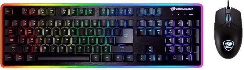 Cougar Deathfire EX игровая клавиатура + мышь37DF2XNMB.0003Комбо-набор Cougar Deathfire EX состоит из гибридной клавиатуры и оптической мыши с подсветкой.Позволяет получить обратную связь уровня, недоступного даже некоторым механическим клавиатурам. Четкие нажатия с сочным усилием без малейшего горизонтального отклонения позволяют отдать управление рефлексам и полностью сосредоточиться на происходящем в игре.С трехзонной подсветкой мыши ,включающей в себя колесико, логотип и контур, а также клавиатурой, с 8 режимами подсветки, среди которых дыхание, мерцание, волна, игровое настроение будет особенно ярким.Свободно меняйте местами кнопки WASD и стрелки на клавиатуре для большего удобства в играх и переключайтесь между ними комбинацией клавиш FN+W.Управляйте медиа-функциями с легкостью комбинаций клавиш FN + F. Управление звуком: громче, тише, выключение звука. Управление режимами подсветки. Блокировка клавиши Windows.С высококачественными прорезиненными ножками игровая клавиатура Cougar Deathfire Ex остается непоколебимой в самых напряженных битвах.Все 19 одновременно нажатых кнопок будут гарантированно обработаны компьютером без малейших задержек.Как выбрать игровую мышь. Статья OZON Гид