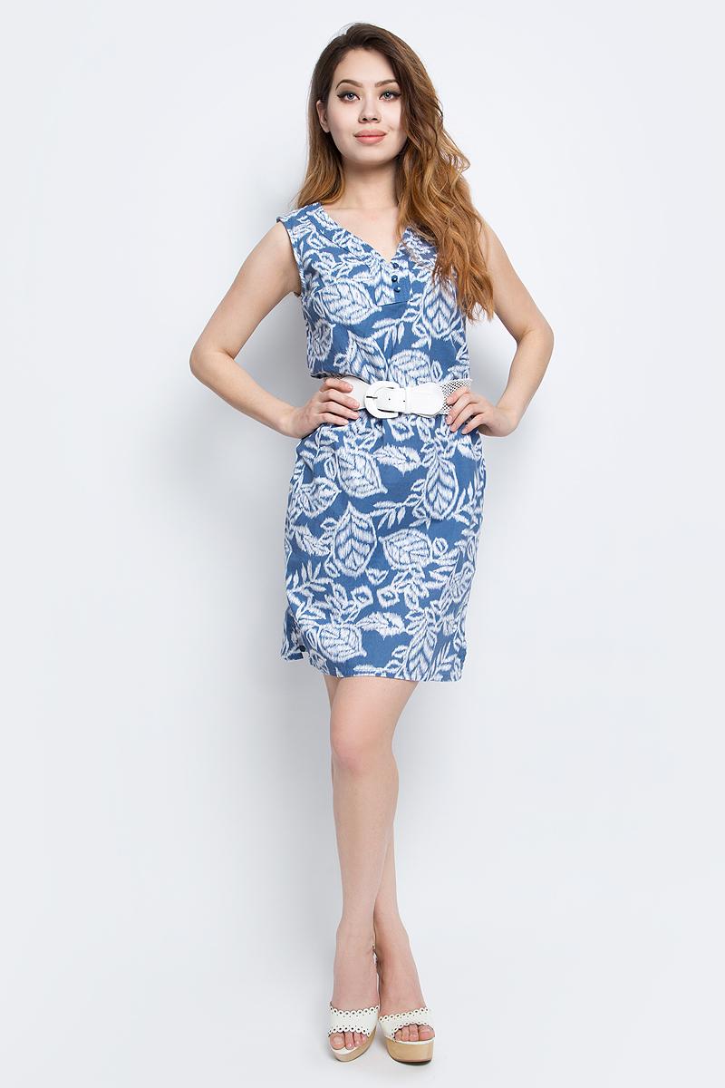 Платье Finn Flare, цвет: синий. S17-12046_103. Размер L (48)S17-12046_103Платье Finn Flare выполнено из льна и хлопка. Модель с V-образным вырезом горловины застегивается на пуговицы.