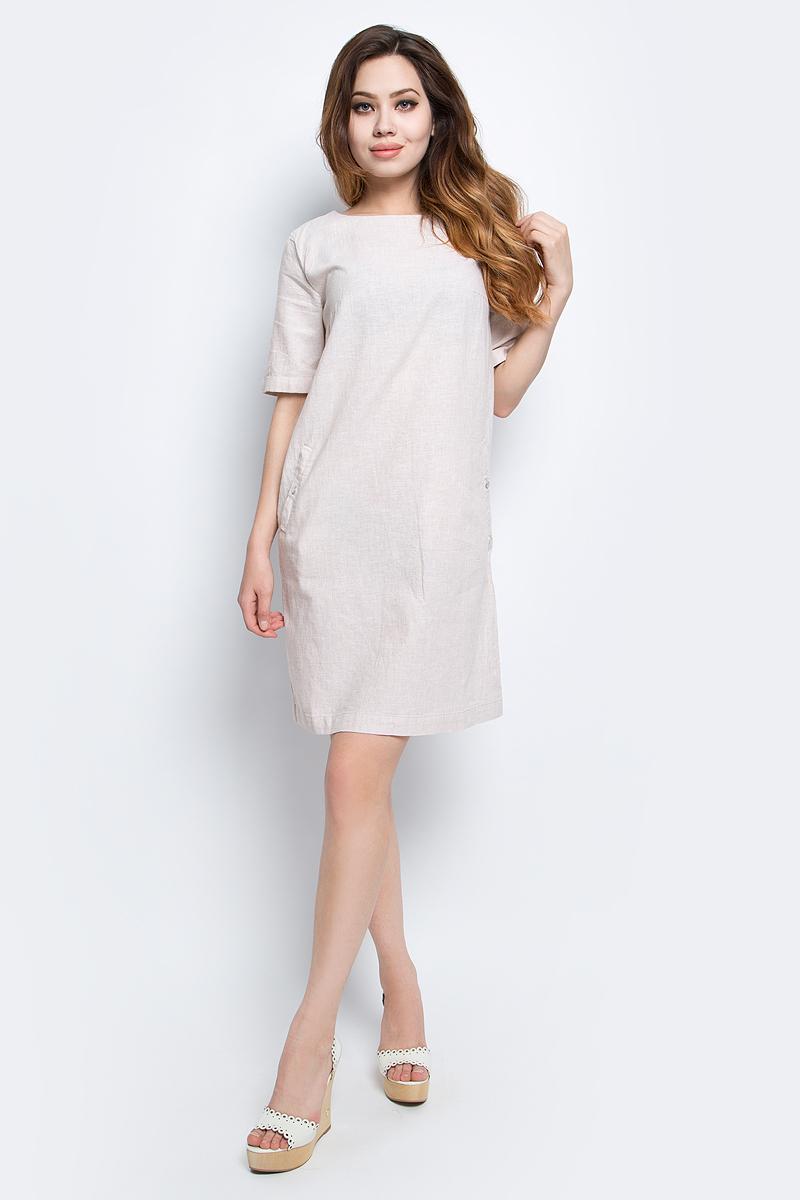 Платье Finn Flare, цвет: светло-бежевый. S17-12002_702. Размер L (48)S17-12002_702Платье Finn Flare выполнено из льна и хлопка. Модель с круглым вырезом горловины и короткими рукавами.