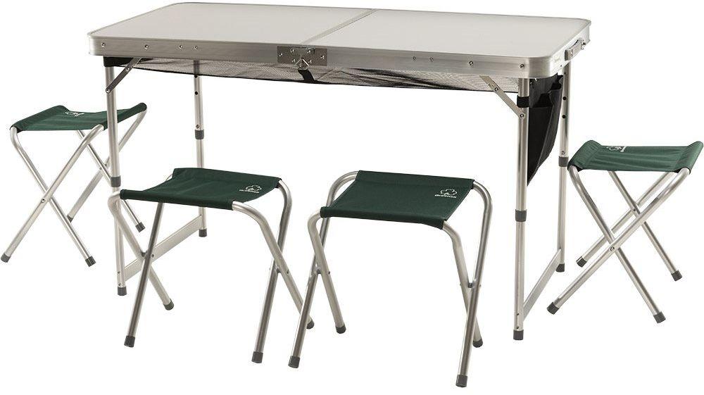 Набор мебели для пикника Greenell FTFS-1 V2, цвет: зеленый, 5 предметов33245Универсальный набор складной мебели Greenell FTFS-1 V2 идеально подойдет для отдыха на природе. Он состоит из стола и четырех табуреток.Изделия выполнены из алюминия. Набор достаточно легкий и компактный, табуретки убираются внутрь стола. Размеры: 120 x 60 x 70 см.