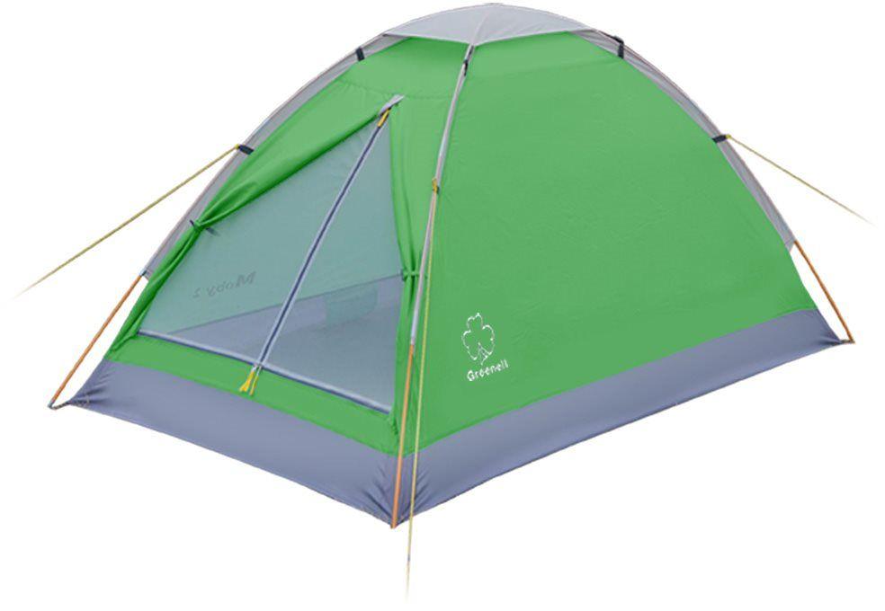Палатка Greenell Моби 2 V2, цвет: зеленый, светло-серый95962-364-00Компактная и легкая палатка Greenell Моби 2 V2 подходит для частой смены лагеря. Собранную палатку легко перемещать с места на место, а в случае необходимости можно закрепить с помощью штормовых оттяжек.Предусмотрена накладка на верхний вентиляционный клапан. Осуществляется хорошая вентиляция за счет верхнего клапана и сетки на входе.Пол с высоким порогом, выполнен из полиэстера с PU 3000, что обеспечивает надежную защиту от влаги. Пол с высоким порогом, выполнен из полиэстера с PU 3000, что обеспечивает надежную защиту от влаги.Что взять с собой в поход?. Статья OZON Гид