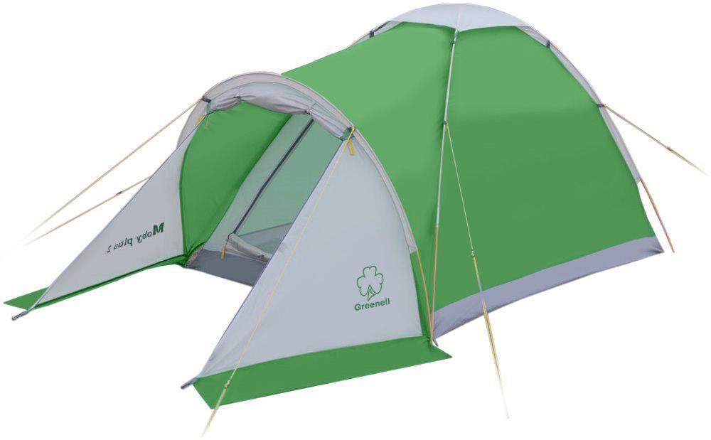 Палатка Greenell Моби 2 плюс, цвет: зеленый, светло-серый0003929Компактная и легкая однослойная палатка Greenell Моби 2 плюс подходит для частой смены лагеря. Собранную палатку легко перемещать сместа на место, а в случае необходимости можно закрепить с помощью штормовых оттяжек.Предусмотрена накладка на верхний вентиляционный клапан. Осуществляется хорошая вентиляция за счет верхнего клапана и сетки на входе.Пол с высоким порогом, выполнен из полиэстера с PU 3000, что обеспечивает надежную защиту от влаги.