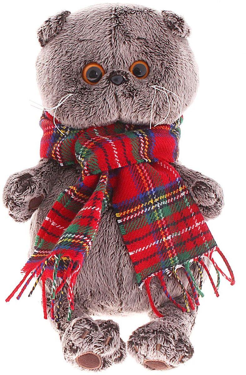 Басик и Ко Мягкая игрушка Басик и шарф в клеточку цвет красный 25 см 1059109 пальто басик