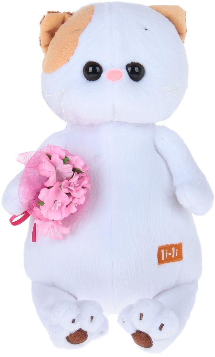 Басик и Ко Мягкая игрушка Кошечка Ли-Ли с букетом цвет розовый 27 см 2140263 bbs 12c2 li 202c set1