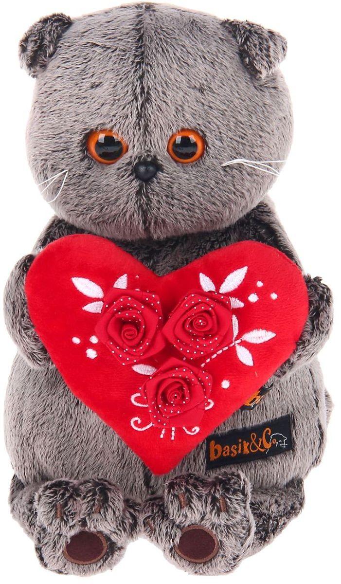 Фото Мягкая игрушка Басик с сердечком цвет красный 25 см 2140271