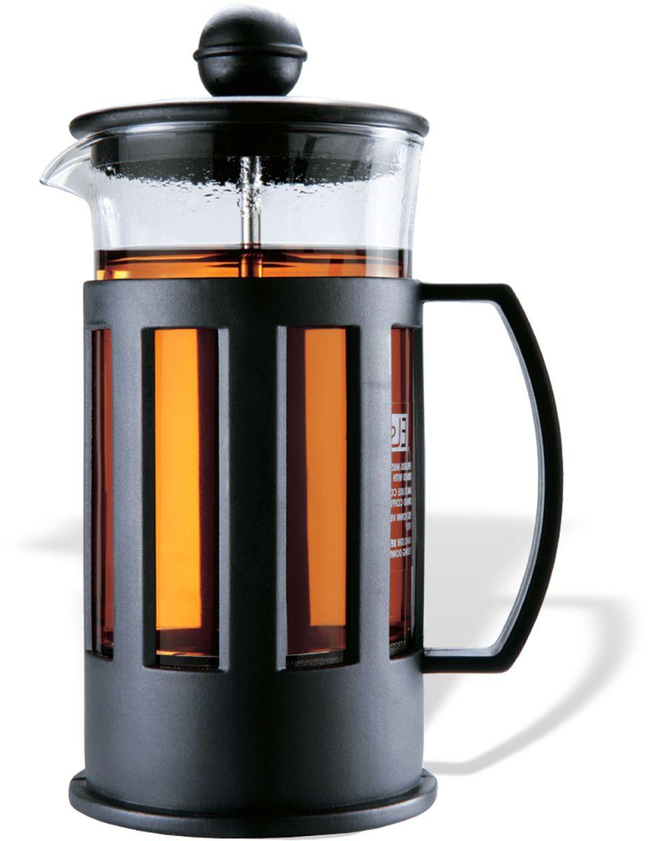 Заварочный чайник Fissman Mokka, с поршнем, цвет: черный, 350 мл. 9001 fissman заварочный чайник 750 мл с ситечком tp 9204 750 fissman