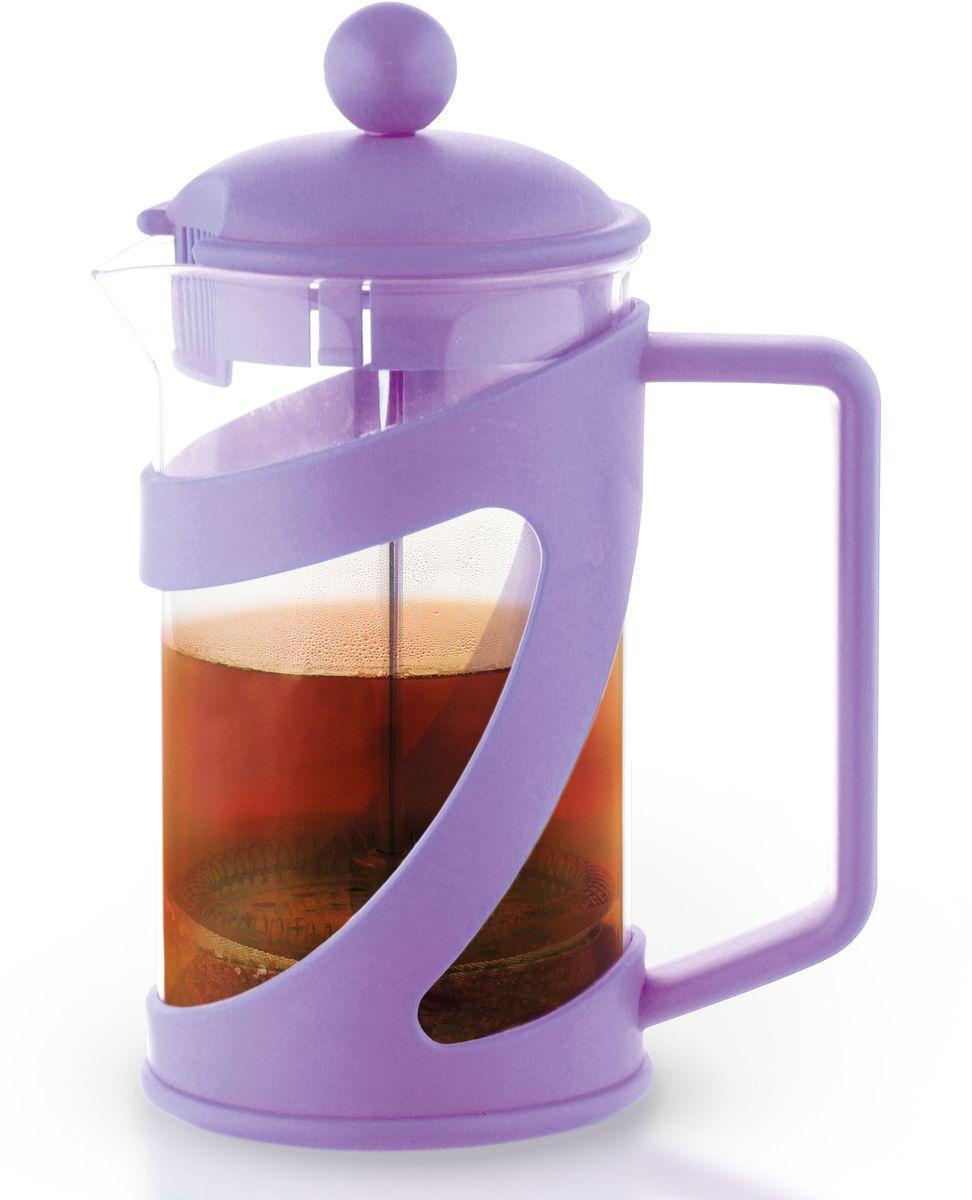 Заварочный чайник Fissman Arabica, с поршнем, цвет: лиловый, 800 мл. 9041FP-9041.800Заварочный чайник Fissman Arabica изготовлен изжаропрочного стекла и пластика. Фильтр-поршень из нержавеющей стали оснащен ситечком для обеспечения равномерной циркуляцииводы. Засыпая чайную заварку или кофе под фильтр, заливаягорячей водой, вы получаете ароматный напиток соптимальной крепостью и насыщенностью. Остановитьпроцесс заваривания легко, для этого нужно просто опуститьпоршень, и все уйдет вниз, оставляя вверху напиток, готовый купотреблению. Изделие оснащено эргономичнойручкой, которая обеспечит безопасный и удобныйхват. Такой чайник позволит быстро и простоприготовить свежий и ароматный кофе или чай. Объем: 800 мл.