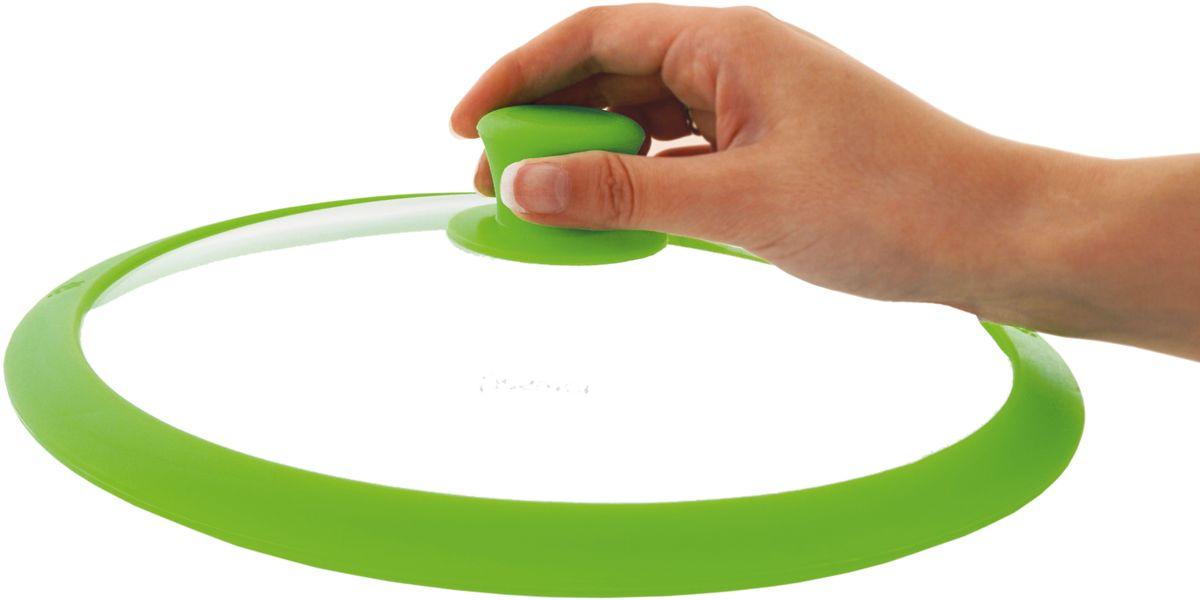 Крышка для посуды Fissman Gourmet, с силиконовым ободком, цвет: зеленый, 20 см. 9951 корзина для жарки во фритюре и бланширования fissman диаметр 23 см