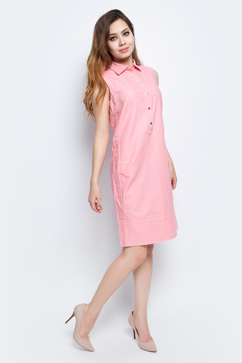 Платье Finn Flare, цвет: розовый. CS17-17015_308. Размер L (48)CS17-17015_308Платье Finn Flare выполнено из льна и хлопка. Модель с отложным воротником застегивается на кнопки.