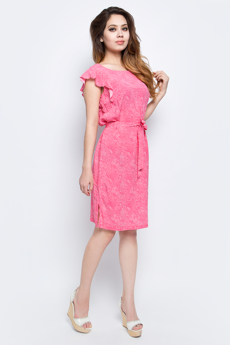 Платье Finn Flare, цвет: розовый. S17-32021_334. Размер XL (50)S17-32021_334Платье Finn Flare выполнено из вискозы. Модель с круглым вырезом горловины оформлена оригинальным принтом.