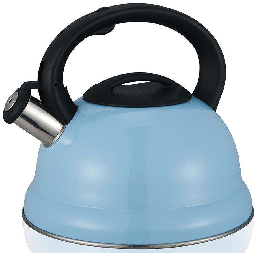 Чайник со свистком MiEssa, цвет: голубой, 3 л чайник кмк 2 л голубой со свистком