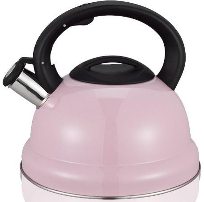 Чайник MiEssa, со свистком, цвет: розовый, черный, 3 лM11-22ч3/0Чайник MiEssa выполнен из высококачественной стали, чтоделает его весьма гигиеничным и устойчивым к износу придлительном использовании. Носик чайника оснащеннасадкой-свистком, что позволитвам контролировать процесс подогрева или кипяченияводы. Чайник снабжен стальной крышкой и эргономичнойручкой из пластика с резиновымпокрытием. Эстетичный и функциональный чайник будеторигинально смотреться в любом интерьере. Подходит для всех типов плит, кроме индукционных.Можно мыть в посудомоечной машине.Высота чайника (с учетом ручки и крышки): 20 см. Диаметр чайника (по верхнему краю): 11 см. Диаметр индукционного дна: 16 см.