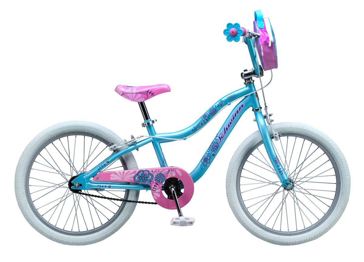 Велосипед детский Schwinn Mist, цвет: небесно-голубойS2367ESchwinn Mist - это небесно-голубой цвет, розовое седло и ручки-цветочки, плюс сумочка для кукол на руле. Все это создано для настоящих маленьких леди, которые уже стремятся быть модными и женственными. Цветочки-ограничители на концах руля - это не просто декоративный элемент, но и функциональная вещь, ведь ручки ребенка не соскочат при неловком движении. Классические ободные тормоза надежны и проверены временем, они не подводят в любую погоду. Защита приводной цепи спасет одежду ребенка от загрязнения.Schwinn SmartStart - новая концепция в разработке детских велосипедов, учиться кататься стало проще и веселее!- Рама Schwinn Smart Start. - Надежные ободные тормоза. - Регулировка высоты седла без инструментов. - Регулировка руля по высоте и наклону. - Полноразмерная защита цепи. - Ограничители на концах руля. - Сумочка для кукол на руле. - Подножка в комплекте. - Колеса 20. - Велосипед для детей 6-9 лет. - Для роста 115-130 см.Какой велосипед выбрать? Статья OZON Гид