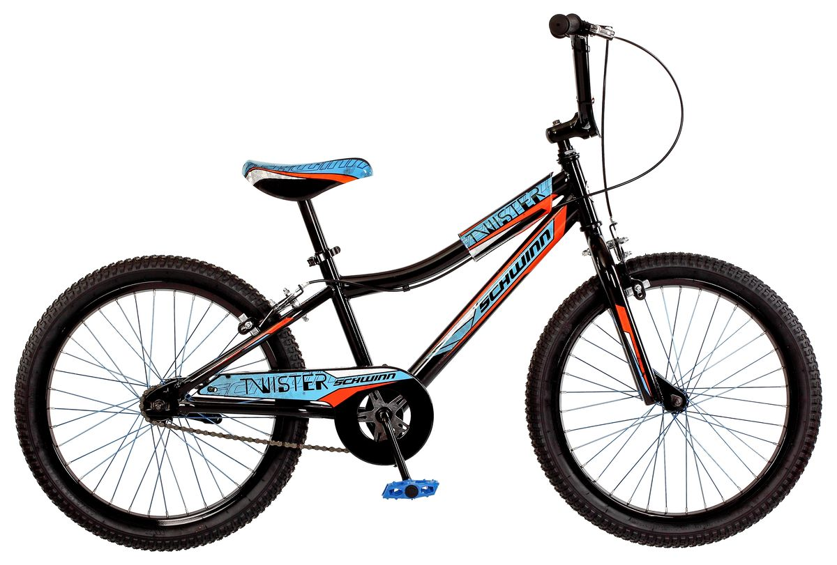 Велосипед детский Schwinn Twister, цвет: черныйS2378EСпортивный стиль велосипеда Twister подчеркивает гоночная раскраска с яркими элементами. Прочная стальная рама и вилка - это основа надежной конструкции велосипеда. Седло регулируется по высоте. Мягкая накладка на верхней трубе защищает от травм во время катания. Ободные тормоза надежны и проверены временем, они не подводят в любую погоду. Полноразмерная защита цепи спасет одежду от загрязнения. Schwinn SmartStart - новая концепция в разработке детских велосипедов, учиться кататься стало проще и веселее!- Рама Schwinn Smart Start.- Надежные ободные тормоза.- Регулировка высоты седла без инструментов.- Регулировка высоты руля и наклону.- Полноразмерная защита цепи.- Мягкая накладка на верхней трубе.- Цветные спицы.- Подножка в комплекте.- Колеса 20.- Велосипед для детей 6-9 лет.- Для роста 115-130 см.Какой велосипед выбрать? Статья OZON Гид