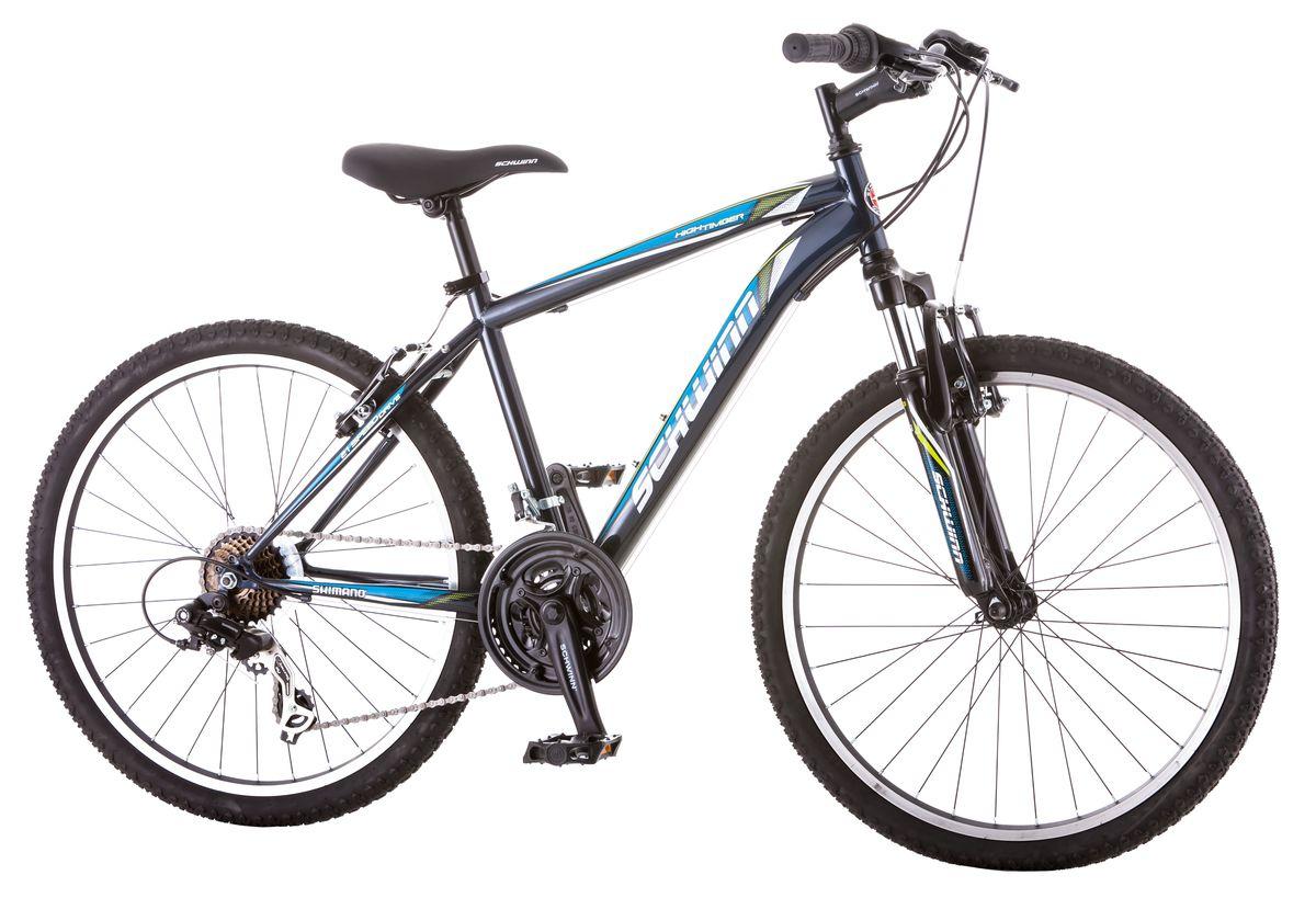 """Schwinn """"High Timber"""" – идеальный пример качества и продуманного подхода к созданию подросткового велосипеда для парней. Велосипед оснащен прочной стальной рамой размером 14"""", которая прослужит не один год. Седло и руль регулируются по высоте и можно слегка увеличивать ее по мере роста ребенка. Амортизационная вилка оснащена подпружиненными пыльниками, которые не пропускают пыль и влагу внутрь, способствуя большему сроку службы вилки. Простые в настройке и обслуживании ободные тормоза отлично работают в любую погоду. Так же этот велосипед оснащён надёжными переключателями Shimano и защитой звезд.  Особенности:  Прочная стальная MTB рама размером 14"""".  Амортизационная вилка с подпружиненными пыльниками.   Простые в настройке и обслуживании ободные тормоза для любой погоды.   Переключатели передач Shimano Tourney.  21 скорость.  Руль и седло регулируются по высоте и наклону.  Защита цепи.  Алюминиевые обода.  Быстросъемные колеса на эксцентриковых осях.  Подножка в комплекте.  Колеса 24"""".  Для подростков 9-12 лет.  Для роста 125-155 см.    Какой велосипед выбрать? Статья OZON Гид"""