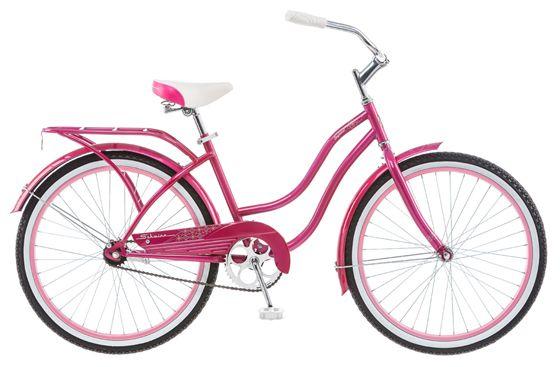 Велосипед городской Schwinn Baywood, для девочки, цвет: розовыйS2492Яркий круизер Schwinn Baywood 24 для ярких девушек, любящих кататься под пристальными взглядами восхищенных прохожих! Сочетание высокого стиля и удобства в одном велосипеде. Безопасная заниженная рама, широкий руль, анатомическое седло на пружинах - все это залог комфортной романтической поездки. Велосипед дополняют полноразмерные розовые крылья, розовый багажник и розовая защита цепи. Идеален для гламурных особ!- Прочная заниженная рама размером 14.- Седло и руль регулируются по высоте и наклону.- Широкий и удобный руль. - Полноразмерные крылья.- Багажник в цвет велосипеда.- Полноразмерная защита цепи. - Подножка в комплекте.- Колеса 24.- Для подростков 9-12 лет.- Для роста 125-155 см.Какой велосипед выбрать? Статья OZON Гид