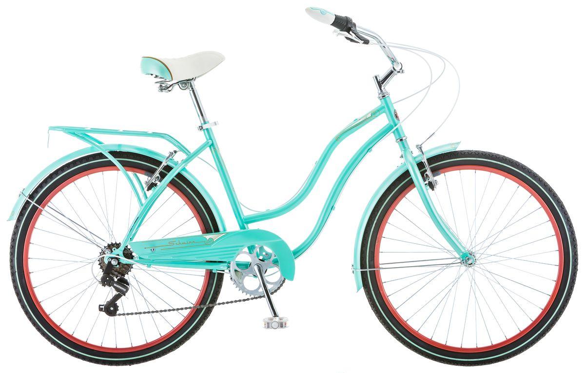 Велосипед городской Schwinn Perla, женский, рама 16, колеса 26, 7 скоростей, цвет: голубойS5477CЖенский велосипед Schwinn Perla 7 притягивает восторженные взгляды окружающих. Классический круизёр небесно-голубого цвета в сочетании с изящными изгибами рамы задает стиль Вашей поездки. Подберите максимально удобную для Вас посадку благодаря комфортному седлу и широкому рулю с регулировками по высоте и наклону. Велосипед оснащён полноразмерными крыльями и багажником в цвет рамы, что увеличивает его функциональность и придает пикантность внешнему виду. 7 скоростей Perla 7 – это не слишком много, чтобы запутаться в их переключении, но достаточно для подъёма в гору или поездки на дальние расстояния.• Прочная заниженная рама размером 16• Надежные ободные тормоза• Переключатели передач Shimano Tourney• 7 скоростей• Руль и седло регулируются по высоте и наклону• Широкое и комфортное седло• Полноразмерные крылья и багажник в цвет велосипеда• Полноразмерная защита цепи• Подножка в комплекте• Колёса 26