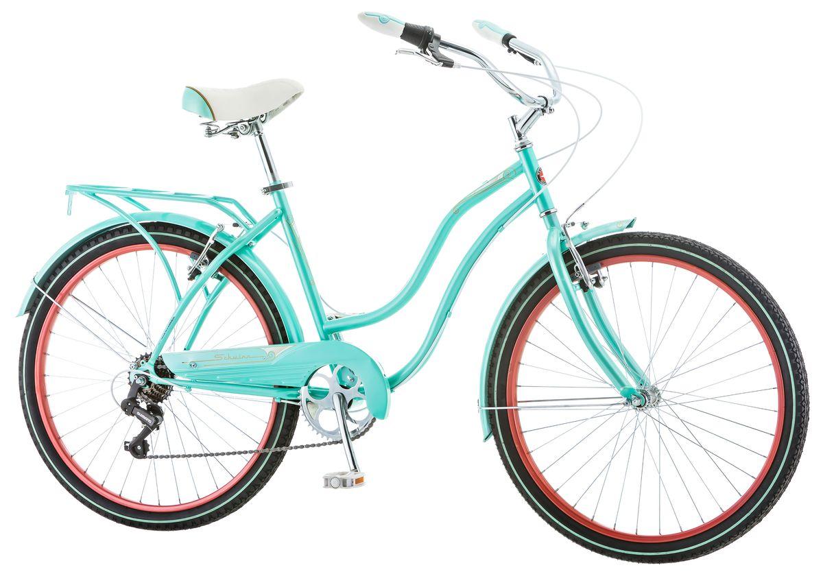 """Женский велосипед Schwinn Perla 7 притягивает восторженные взгляды окружающих. Классический круизёр небесно-голубого цвета в сочетании с изящными изгибами рамы задает стиль Вашей поездки. Подберите максимально удобную для Вас посадку благодаря комфортному седлу и широкому рулю с регулировками по высоте и наклону. Велосипед оснащён полноразмерными крыльями и багажником в цвет рамы, что увеличивает его функциональность и придает пикантность внешнему виду. 7 скоростей Perla 7 – это не слишком много, чтобы запутаться в их переключении, но достаточно для подъёма в гору или поездки на дальние расстояния.• Прочная заниженная рама размером 16""""• Надежные ободные тормоза• Переключатели передач Shimano Tourney• 7 скоростей• Руль и седло регулируются по высоте и наклону• Широкое и комфортное седло• Полноразмерные крылья и багажник в цвет велосипеда• Полноразмерная защита цепи• Подножка в комплекте• Колёса 26""""  Какой велосипед выбрать? Статья OZON Гид"""