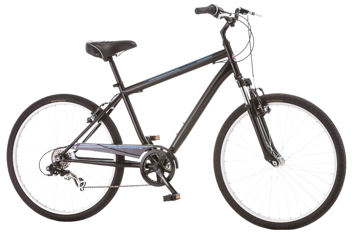 """Стильный мужской велосипед Suburban с рамой Schwinn Comfort , выполненный в классическом черном цвете, идеально подходит для катания по среднепересечённой местности – асфальту и утоптанным тропинкам. Этот комфортный велосипед оптимизирован под расслабленную посадку, которая достигается за счёт педалей, вынесенных вперёд относительно седла. Регулируемый по высоте руль помогает Вам сидеть максимально ровно, расслабив руки. Широкое, мягкое седло и амортизационная вилка, уменьшают любые, даже самые маленькие вибрации от дороги. Цепь велосипеда дополнительно защищена кожухом и не пачкает одежду.• Прочная стальная рама размером 18""""• Амортизационная вилка• Надёжные ободные тормоза• Переключатели передач Shimano Tourney• 7 скоростей• Регулировка руля и седла по высоте и наклону• Полноразмерная защита цепи• Круговая защита передней звезды, предотвращает соскакивание цепи• Подножка в комплекте• Колёса 26""""  Какой велосипед выбрать? Статья OZON Гид"""