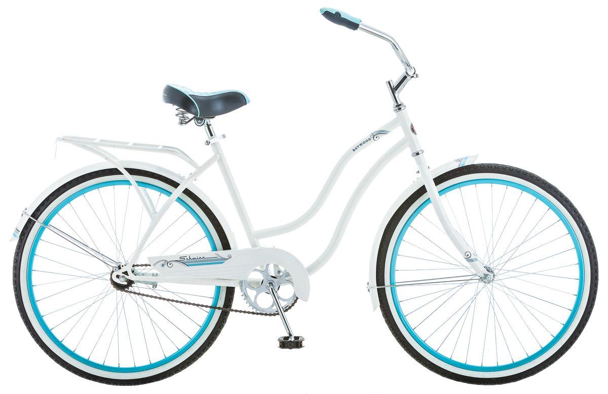 Велосипед городской Schwinn Baywood, женский, рама 16, колеса 27,5, 1 скорость, цвет: белыйS5591Выбирая Schwinn Baywood, любая девушка будет в центре внимания. Легкий и свежий дизайн подчеркнёт Вашу женственность на улицах города или тропинках парка. Рама, крылья и багажник, выполненные в белоснежном цвете, завершают воздушный романтический образ. Удобный широкий руль и комфортное анатомическое седло на пружинах – залог не только красивой, но и комфортной поездки. А благодаря заниженной раме можно кататься в платье или сарафане. И не стоит волноваться о длине юбки - полноразмерная защита цепи предохраняет от попадания низа одежды в цепь и звёзды.• Прочная заниженная рама размером 16 • Седло и руль регулируются по высоте и наклону • Широкий и удобный руль• Полноразмерные крылья • Багажник в цвет велосипеда • Полноразмерная защита цепи• Подножка в комплекте • Колёса 27,5Какой велосипед выбрать? Статья OZON Гид
