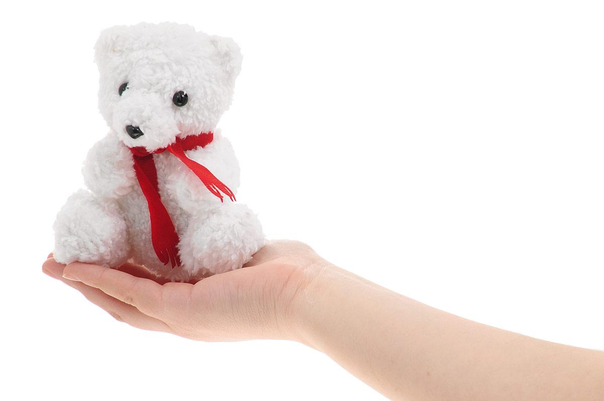 Magic Bear ToysМягкая игрушка Мишка в красном шарфе цвет белый 14 см Magic Bear Toys