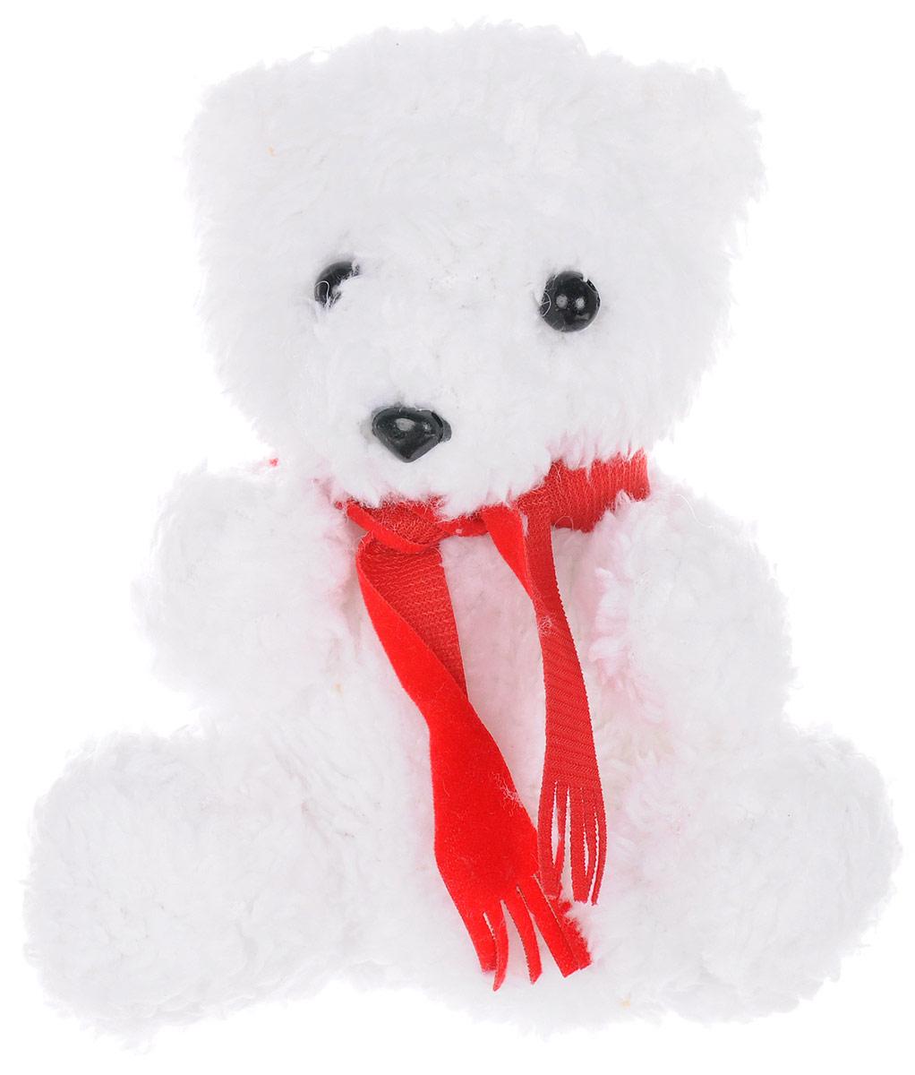 Magic Bear Toys Мягкая игрушка Мишка в красном шарфе цвет белый 14 см