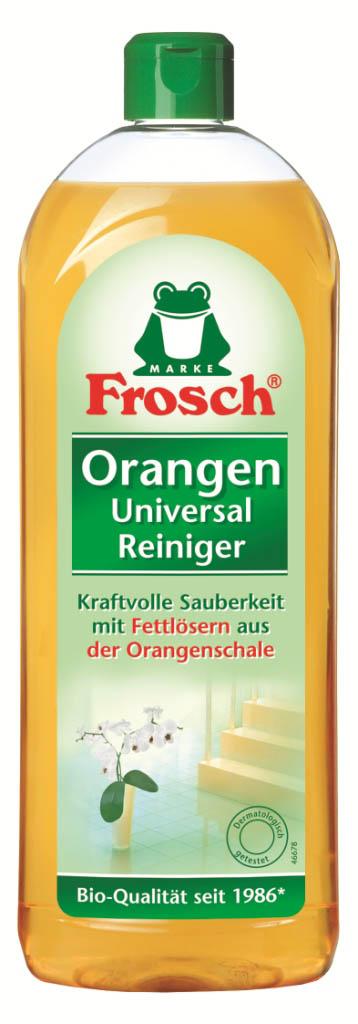 Универсальное чистящее средство Frosch, с ароматом апельсина, 750 мл113065Универсальное чистящее средство Frosch предназначено для интенсивной очистки в ванной, кухни и туалете. Эффективно удаляет отложения кальция, жира, водяных пятен и остатков мыла. Удаляет неприятные запахи и распространяет приятный цитрусовый аромат. Состав: менее 5% лимонная кислота, моносодиум цитрат, менее 1% лаурил цитрат натрия, ксантановая камедь, дипропиленгликоль, глицерин, ароматизирующие добавки, загуститель, менее 0,1% краситель, бензоат натрия, пропиленгликоль, триэтилцитрат.Товар сертифицирован.Как выбрать качественную бытовую химию, безопасную для природы и людей. Статья OZON Гид