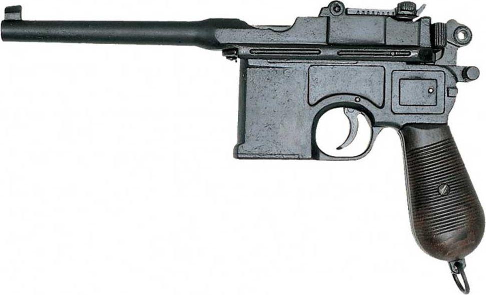 Маузер, калибр 7,63, Оружейная реплика. 1898 годD7/1024Маузер C-96 — тяжелое и мощное оружие, необычное внешне — был разработан фирмой братьев Маузеров. В 1896 году были изготовлены первые пистолеты, в 1897 году началось их серийное производство, которое продолжалось до 1939 года. За это время было выпущено более миллиона пистолетов C96.Одна из причин, по которой пистолет Маузера стал популярен — его огромная, по тем временам, мощность. Пистолет позиционировался как легкий карабин, чем он в сущности и являлся: деревянная кобура использовалась в качестве приклада, а убойная сила пули заявлялась на дальность до 1000 м (правда, при этом разброс пуль по горизонтали для неподвижно закреплённого пистолета мог составлять несколько метров, так что о прицельной стрельбе на такую дальность не могло быть и речи). Вторая причина — немалая стоимость такого оружия придавала владельцу больший вес как в самооценке, так и в обществе. Подвижные части: затворная рама, ударно-спусковой механизм, прицельная планка. Копия полностью копирует оригинал по размеру.Длина 32 см.