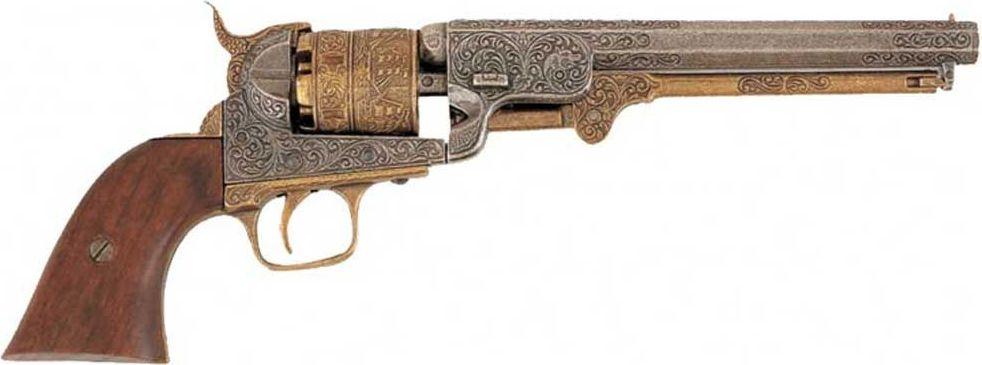 Представленная копия, револьвер созданный по заказу ВМФ США, выполнена с подвижным вращающимся цилиндром-барабаном с шестью каморами, в которых находятся имитации патронов, и ударно-спусковым механизмом. Выполнен револьвер из металла с деревянными накладками на рукояти   Копия полностью копирует оригинал по размеру.
