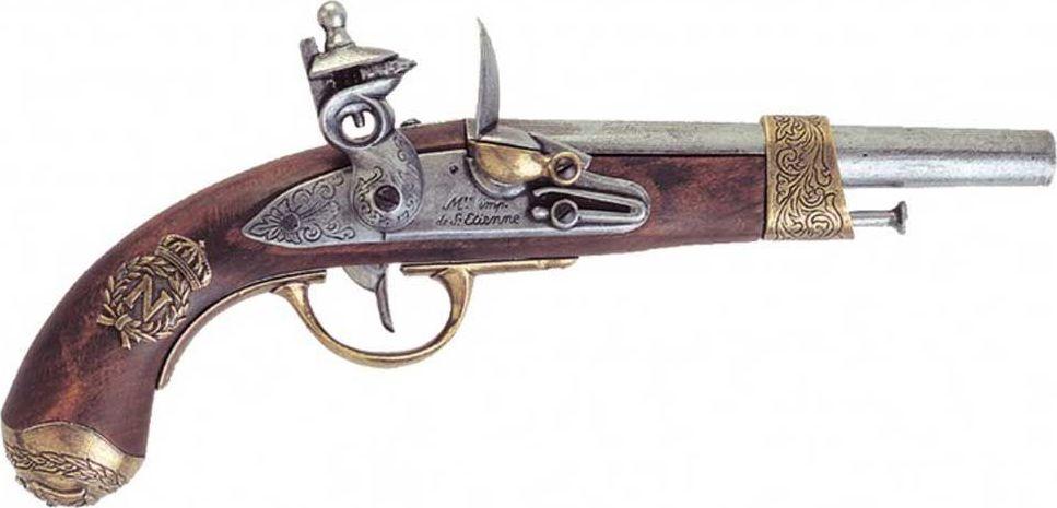 Пистолет Наполеона. Оружейная реплика. Изготовлен Грибовалем, 1806 годD7/1063Офицера Жана-Батиста Грибоваля по праву можно назвать гением оружейного дела. Его талант в своем время подарил Франции, да и всей Европе, революционные открытия в области артиллерии. Недаром могущественная армия Наполеона была вооружена пушками, гаубицами и ручным оружием с системой Грибоваля, да и сам император не расставался с двуствольным пистолетом, созданным для него этим одаренным человеком.Компания Denix в подробностях воссоздала этот знаменитый пистолет, сделав его из дерева и цинково-алюминиевого сплава. Изящное оружие c красивой гравировкой, повторяющей геральдику легендарного императора и полководца. Копия полностью копирует оригинал по размеру.
