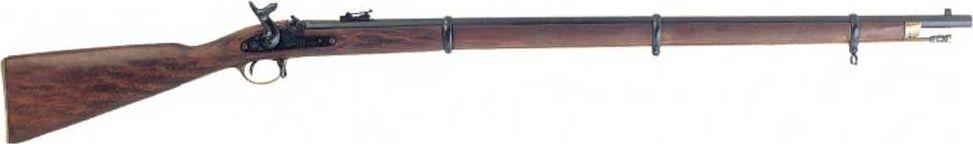Мушкетон. Оружейная реплика. Изготовлен Энфилдом, Англия, 1853 годD7/1067Мушкет Энфилд — Enfield Pattern 1853 Rifled Musket — винтовка, находящаяся на вооружении английской армии с начала 1853 года. Она заряжалась с дульной стороны пулями Притчетта .577-го калибра, которые на самом деле представляли из себя усовершенствованные пули Минье (Minie). В зависимости от ловкости стрелка удавалось произвести от трех выстрелов в минуту. Прицельная дальность была 275 метров, при общей дальности полета пули 1800 метров. За столь короткий срок эксплуатации (14 лет) английской армией было куплено, по некоторым данным чуть больше полутора миллионов штук, что говорит о большой популярности этого мушкета. Технический прогресс, тем не менее, шел вперед огромными шагами и повсеместно внедрялось зарядка оружия с казенной части при которой обученный солдат мог делать до десяти выстрелов в минуту, по сравнению с только тремя выстрелов в минуту при дульнозарядном. С 1866 года винтовки Энфилда в большом количестве стала переоснащаться на Королевском заводе стрелкового оружия (RSAF) под заряжание патронами и были переименованы в Snider-Enfield. Копия полностью копирует оригинал по размеру.
