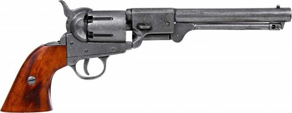 Копия револьвера ВМФ США выполнена с подвижным вращающимся барабаном с шестью каморами, в которых находятся патроны, и ударно-спусковым механизмом. Испанская компания DENIX основана в 1966 году двумя опытными ювелирами. DENIX делает высококачественные копии различных видов огнестрельного, холодного и декоративного оружия. В каталоге Фирмы более 300 знаменитых моделей пистолетов, ружей, сабель, пулеметов, канцелярских ножей, военных и охотничьих аксессуаров. Испанцы сумели завоевать доверие очень капризной аудитории - это коллекционеры и любители оружия, военные историки и мемуаристы, организаторы праздников, реквизиторы театра и кино. Все эти люди понимают толк в аутентичности реплики и потому предъявляют самые высокие требования к материалам и дизайну.   Копия полностью копирует оригинал по размеру.