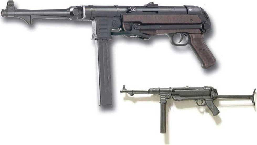 Пистолет-пулемет Второй мировой войны MP40, 9 мм. Оружейная реплика. Германия, 1940 годD7/1111MP 40 (сокр. от нем. Maschinenpistole) - пистолет-пулемёт, разработанный Генрихом Фольмером на основе более раннего MP 36, и использовавшийся в качестве личного оружия. Состоял на вооружении вермахта во время Второй мировой войны. MP 40 явился модификацией пистолет-пулемёта MP 38, который, в свою очередь, был модификацией пистолета-пулемёта MP 36, прошедшего боевые испытания в Испании. MP 40, как и MP 38, предназначался в первую очередь для танкистов, мотопехоты, десантников и командиров пехотных отделений. Позднее, ближе к концу войны, он стал применяться немецкой пехотой достаточно массово, хотя при этом и не имел повсеместного распространения.Пеистолет-пулемет полностью копирует оригинал по размеру.