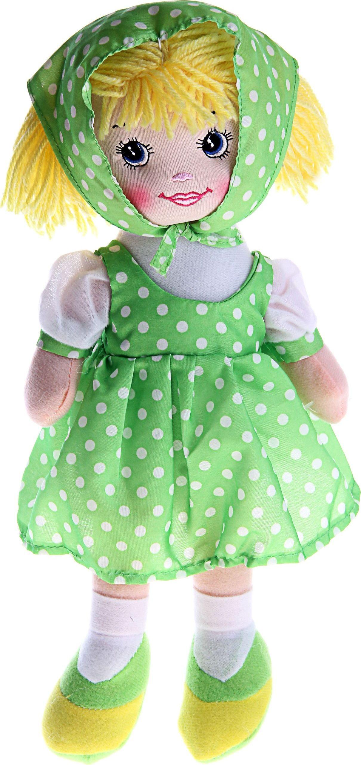 Sima-land Мягкая кукла Ксюша в косынке и зеленом платье 330353 sima land мягкая кукла оля с держателем и полотенцем цвет желтый