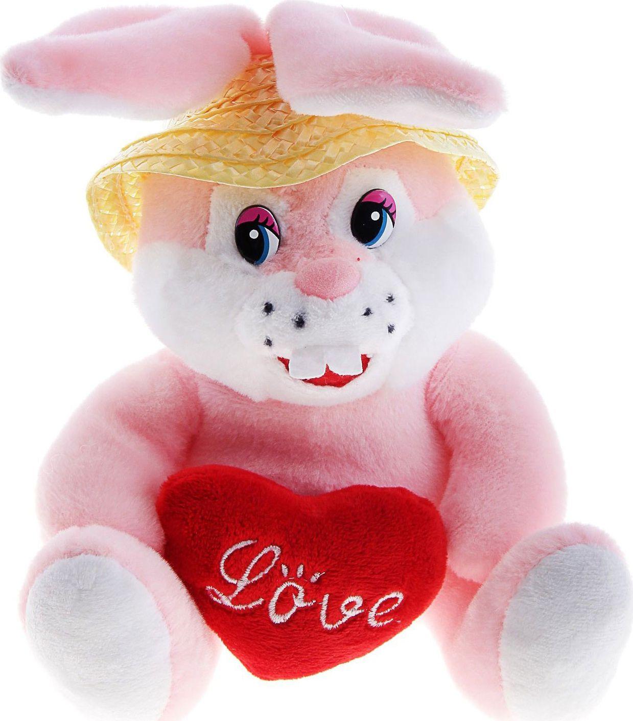 Sima-land Мягкая игрушка Зайка с сердцем в шляпке 330525