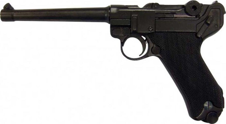 Пистолет Люгера системы парабеллум P08. Оружейная реплика. Германия, 1898 годD7/1144Макет пистолета Парабеллум Люгер Р-08 1144 - отличная и очень подробная копия великолепного пистолета, облик которого известен каждому любителю оружия, а его альтернативное название - Парабеллум давно уже стало именем нарицательным. Культовая фраза из произведения И.Ильфа и Е.Петрова 12 стульев, вложенная в уста Остапа Бендера: Я дам вам парабеллум, как раз о пистолете Luger P.08. Георг Люгер создал всемирно известный Парабеллум примерно в 1898 году, взяв за основу патрон и систему запирания конструкции Хуго Борхарда. Это оружие пример блестящей реализации конструкторской мысли и является желанным экспонатом в любой оружейной коллекции.Макет выполнен из металла, что придает ему сходство с боевым пистолетом не только по внешнему виду, но и по массе. Из рукояти можно извлечь магазин, макет можно взвести и щелкнуть спусковым механизмом, что добавляет ему реалистичности. Макет Люгер Р.08 выполнен довольно точно, каждая внешняя деталь повторяет по форме соответствующую деталь оригинала. Данный макет Парабеллума представляет собой очень антуражную вещь, которая безусловно будет интересна каждому любителю оружия. Подвижные части: затворная рама, ударно-спусковой механизм, извлекается магазин. Можно разобрать, открутив дуло отверткой. Копия полностью копирует оригинал по размеру.