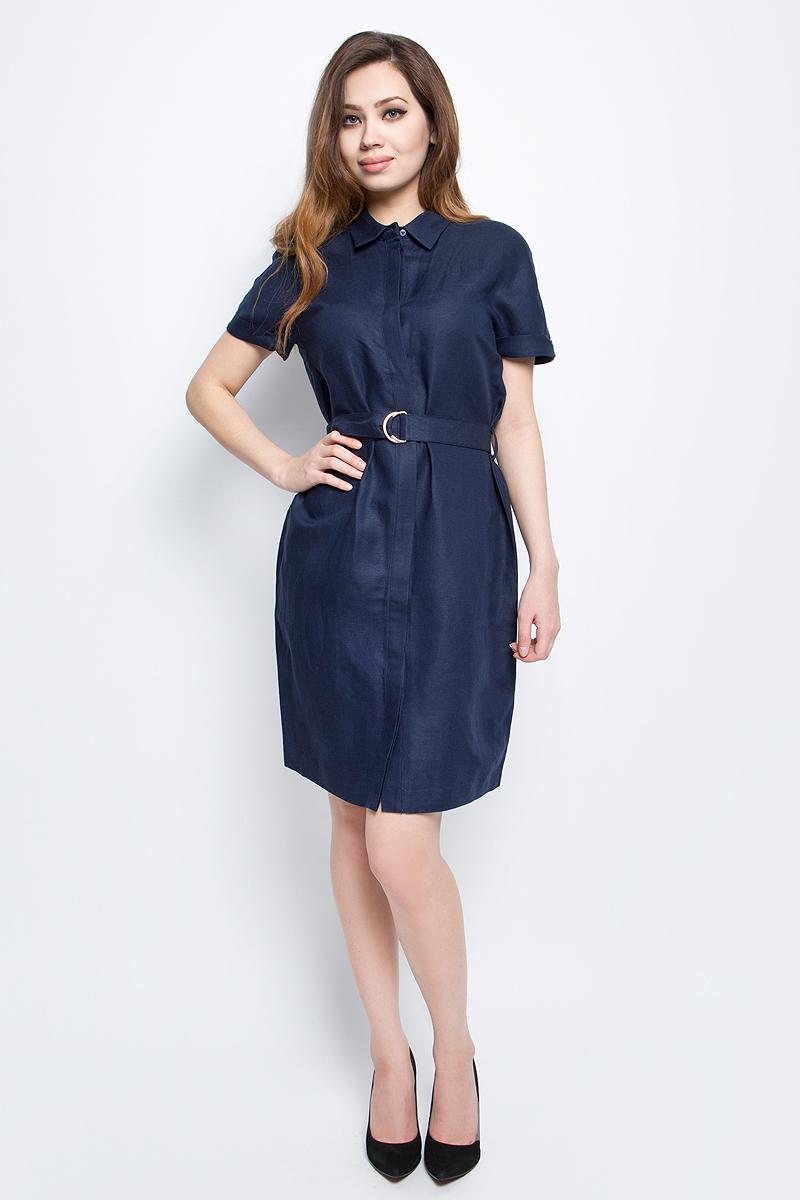 Платье Baon, цвет: темно-синий. B457065_Dark Navy. Размер L (48)B457065_Dark NavyПлатье Baon выполнено из льна и вискозы. Модель с отложным воротником и короткими рукавами.