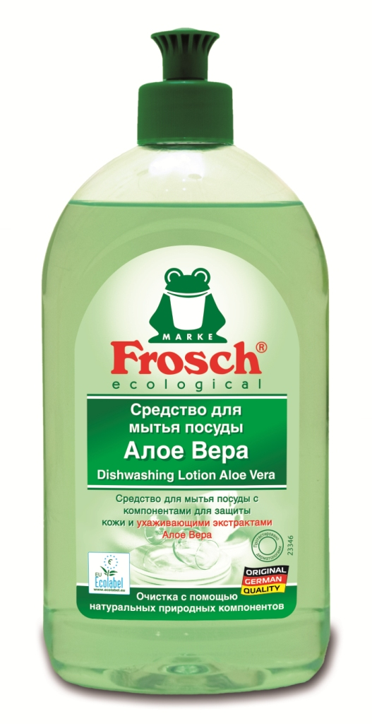 Средство для мытья посуды Frosch, концентрированное, с Алоэ Вера, 500 мл1706453Концентрированное средство для мытья посуды Frosch имеет специальный состав высокоактивных компонентов, которые мягко удаляют грязь и остатки пищи. Средство не оставляет подтеков, придавая блеск посуде. Средство имеет Ph-нейтральный состав, не содержит щелочи, а специально добавленный натуральный экстракт из листьев Алое Вера заботится о коже рук. Во время мытья посуды кожа защищена от высыхания, становится мягкой и эластичной. Благодаря специальной формуле, заботящейся о коже рук, это средство также можно использовать для обычного мытья рук. Средство обладает приятным ароматом.Торговая марка Frosch специализируется на выпуске экологически чистой бытовой химии. Для изготовления своей продукции Froschиспользует натуральные природные компоненты. Ассортимент содержит все необходимое для бережного ухода за домом и вещами. Продукция торговой марки Frosch эффективно удаляет загрязнения, оберегает кожу рук и безопасна для окружающей среды. Характеристики: Объем: 500 мл. Производитель:Германия. Товар сертифицирован.Как выбрать качественную бытовую химию, безопасную для природы и людей. Статья OZON Гид
