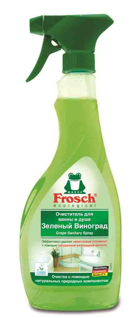 """Очиститель """"Frosch"""" предназначен для чистки ванны и душа. Он отлично снимает известковые отложения, грязь, следы от водяных капель и мыла, благодаря комбинации чистящих компонентов и натуральной виноградной кислоты. Таким образом, это средство сочетает в себе и сильную очищающую способность, и заботу об окружающей среде. Очиститель не содержит фосфатов, формальдегидов. Кроме этого, средство устраняет неприятные запахи и оставляет после себя приятный фруктовый аромат. Характеристики:  Объем: 500 мл. Производитель:  Германия. Товар сертифицирован. Торговая марка Frosch специализируется на выпуске экологически чистой бытовой химии. Для изготовления своей продукции Frosch  использует натуральные природные компоненты. Ассортимент содержит все необходимое для бережного ухода за домом и вещами. Продукция торговой марки Frosch эффективно удаляет загрязнения, оберегает кожу рук и безопасна для окружающей среды.  Как выбрать качественную бытовую химию, безопасную для природы и людей. Статья OZON Гид"""