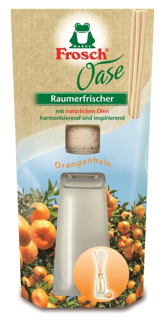 Ароматизатор воздуха Frosch Апельсин, 90 мл108084Ароматизатор воздуха Frosch Апельсин представляет собой чувственное вдохновение от природы в стильной и элегантной стеклянной бутылке. Натуральный ненавязчивый аромат благотворно влияет на микроклимат в помещении, вызывает приятные воспоминания и пробуждает чувства. Аромат апельсина обладает успокаивающим эффектом и способствует расслаблению. Пробка и палочки изготовлены из натуральной древесины. Способ применения: выньте пробку и вставьте деревянные палочки в бутылку. Чем больше деревянных палочек вы используете, тем интенсивней аромат в комнате. Состав: отдушки, масла апельсина. Товар сертифицирован.Уважаемые клиенты! Обращаем ваше внимание на возможные изменения в дизайне упаковки. Качественные характеристики товара остаются неизменными. Поставка осуществляется в зависимости от наличия на складе.